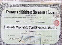 TRAMWAYS ET ECLAIRAGE ELECTRIQUES A CATANE - Chemin De Fer & Tramway