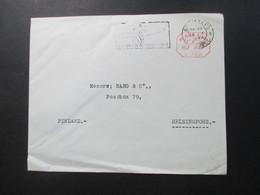 Belgien 1946 Auslandsbrief Nach Finnland Mit Rotem Freistempel 3F15 Und Maschinenstempel Luftpost / Luchtpost - 1935-1949 Small Seal Of The State