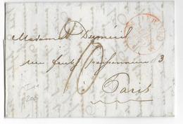 1830 - SEINE INFERIEURE - LETTRE De LE HAVRE Avec T12 ROUGE =>  PARIS - 1801-1848: Precursori XIX