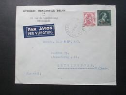 Belgien 1946 Auslandsbrief Nach Finnland Mit Nr. 750 MiF Luftpost Overseas Mercantile Belge Rue Du Luxembourg Bruxelles - 1946 -10%