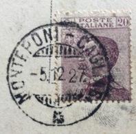 AMBULANTE MONTEPONI - CAGLIARI   * 5/12/27  SU CARTOLINA  DOMUSNOVA MONUMENTO NAZIONALE NURAGLIS PER FIRENZE - 1900-44 Vittorio Emanuele III
