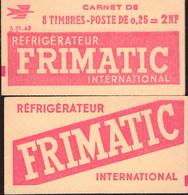 """CARNET 1263-C 1 MARIANNE De DECARIS """"FRIMATIC"""" Série (S.01.62). Parfait état, Produit Plus Que RARE. - Usage Courant"""