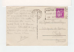 Sur CPA De Strasbourg Flamme  Visitez La Foire Europ. De Stasbourg Sur Type Paix. CAD Strasbourg Pl. Gare 1936. (2375x) - Marcophilie (Lettres)