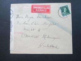 Belgien 1943 Nr. 641 EF Spoedbestelling Expres Geöffnet / OKW Zensur Mit Rosa Zensurstempel Geprüft OKW C - 1934-1935 Léopold III