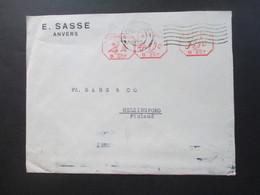 Belgien 1946 Auslandsbrief Nach Finnland Mit 3 Verschiedenen Roten Freistempel E. Sasse Anvers - Helsingfors - 1935-1949 Small Seal Of The State