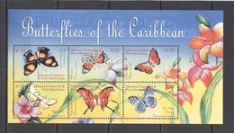 B892 GRENADA CARRIACOU FLORA & FAUNA FLOWERS BUTTERFLIES OF THE CARIBBEAN 1KB MNH - Papillons