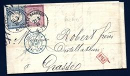 LETTRE ALSACE-LORRAINE OCCUPÉE- TIMBRAGE BICOLORE EMPIRE N°16-17- RARE CAD METZ BAHNHOF- 1873- 3 SCANS- INFO - Poststempel (Briefe)