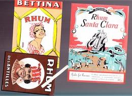 Boisson / Rhum / 5 étiquettes Kerea, Santa Clara, Bettina, Antilles + ARA Carnet Points Jeu De Bridge - Advertising