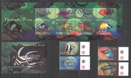 B896 GRENADA CARRIACOU FAUNA FISH & MARINE LIFE TROPICAL FISH !!! KB+BL+SET MNH - Vie Marine