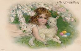 EASTER ; Girl & Lamb , 00-10s - Easter