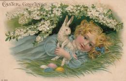 EASTER ; Girl & Rabbit , 00-10s - Easter