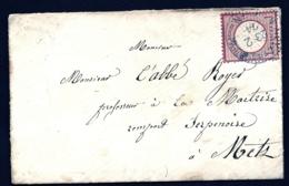 LETTRE ALSACE-LORRAINE OCCUPÉE- TIMBRAGE PAR EMPIRE N°16 CAD BLEU TYPE 138-3 (RARE)- 1874 - 2 SCANS + INFO - Postmark Collection (Covers)