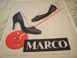 ANCIENNE PUBLICITE QUALITE CHAUSSURE MARCO 1954 - Vintage Clothes & Linen
