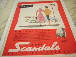 ANCIENNE PUBLICITE NOIRE BLEUE GAINE SCANDALE  1954 - Vintage Clothes & Linen