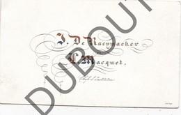 Porseleinkaart - Carte Porcelaine  - J. De Raeymaeker Et Maquet- Chefs D'Institution  9 X 5,4 Cm  (G145) - Autres