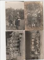 4 CARTE PHOTO:À SITUER PORTRAIT MILITAIRES CHIEN,SOLDAT GAMELLE ,SOLDATS ENCLUME DU 7 AU JUS,MILITAIRE CANON - A Identificar