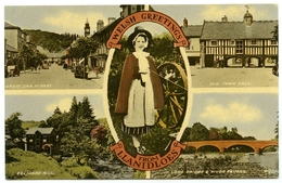 WELSH GREETINGS FROM LLANIDLOES : MULTIVIEW - Montgomeryshire