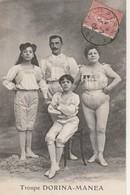 CPA:QUATRE PERSONNES DE LA TROUPE DORINA MANEA DU CIRQUE..ÉCRITE - Circo
