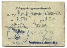 GERMANY, Third Reich, WW2 - 1941. BEURIG, Kriegsgefangenen Prisoner Of War Camp, Ausweis Identity Card - Documents Historiques