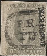 J) 1861 MEXICO, HIDALGO, 2 REALES, MARAVATIO DISTRICT, USED IN TUXPAN, OVAL CANCELLATION, MN - Mexico