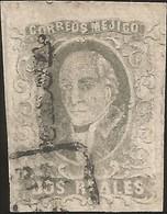 J) 1861 MEXICO, HIDALGO, 2 REALES, CORDOVA DISTRICT, BLACK CANCELLATION, MN - Mexico