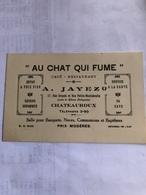 Facture Au Dos De La Carte :»Au Chat Qui Fume» à Châteauroux (année 1938) - France