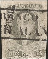 J) 1861 MEXICO, HIDALGO, 2 REALES, PUEBLA DISTRICT, BLACK BOX CANCELLATION TEHUACAN, MN - Mexico