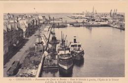 50. CHERBOURG. CPA . PANORAMA DES QUAIS ET BASSINS . - Cherbourg