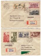 MG198)CECOSLOVACCHIA 1956 2 Racc.te Viaggiate Con 2 Serie Cpl Scott 763-769 - Tschechoslowakei/CSSR