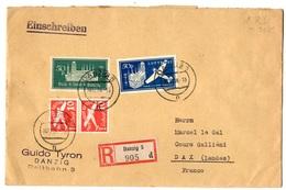 Dantzig Superbe Lettre Recommandée De 1938 Pour La France. B/TB. A Saisir! - Danzig
