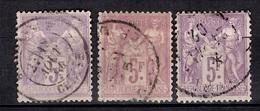 France Sage YT N° 95 Trois Timbres Oblitérés Avec Belles Nuances. B/TB. A Saisir! - 1876-1898 Sage (Type II)