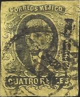 J) 1861 MEXICO, HIDALGO, 4 REALES, MEXICO DISTRICT, CIRCULAR CANCELLATION, MN - Mexico