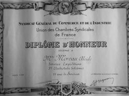 """DIPLOME SYNDICAT GENERALE DE COMMERCE ET DE L'""""INDUSTRIE DIPLOME D'HONNEUR 1959 - Diploma & School Reports"""
