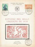 1976. ESTUDIO DEL SELLO URGENTE DE 1939. Guillermo Peyró Madroñal Y José María Gomís Seguí. XX Volumen De La Biblioteca  - Spain