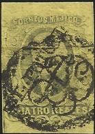 J) 1861 MEXICO, HIDALGO, 4 REALES, DIAGONAL DISTRICT SAN LUIS POTOSI, ORNAMENTAL CANCELLATION, MN - Mexico