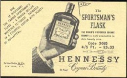 U.S.A. (1950) Hand Holding Bottle Of Brandy. Postal Card (used) With Printed Ad On Back For Henessey - 1941-60