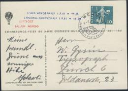 SWITZERLAND (1961) Balloon. Balloon Post PPC With Stamp Luftpost Ballon Mungg. - Cartas