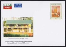 NORFOLK ISLAND (2000) Owl. Postage Paid Airmail Postcard (mint) With Corner Illustration Of Cheryl Tennis Court. - Norfolk Island