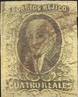 J) 1861 MEXICO, HIDALGO, 4 REALES, CIRCULAR CANCELLATION, NO DISTRICT NAME, MN - Mexico