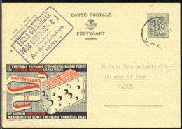 BELGIUM (1952) Swiss Cheese. Postal Card (used), Publibel No 1155, With Illustrated Ad For Genuine Swiss Cheeses - Enteros Postales