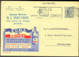 BELGIUM (1959) Soft Drink Bottle. Postal Card, Publibel No 1584, With Advertisement For Eura Drinks - Stamped Stationery