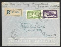 Enveloppe Recommandé De Vinhlong Sud Viet Nam-Poste Aerienne N°13-Pour Paris - Indochine (1889-1945)