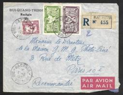 Enveloppe Recommandé De Rachgia Sud Viet Nam-Pour Paris - Indochine (1889-1945)