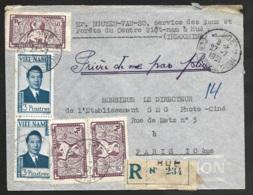 Enveloppe Recommandé De Hoe Centre Viet Nam-Pour Paris - Indochine (1889-1945)
