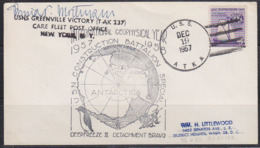 U.S.A. (1957) Map Of Antarctica. Bee. Penguin. Letter From USNS Greenville Victory (T AK 237) With Handstamp Of IGY. - FDC