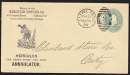 """U.S.A. (1888) Hercule Tenant Une Massue. Entier Publicitaire à 2 Cents. """"Hercules Powder Co."""" Superbe Illustration! - Interi Postali"""