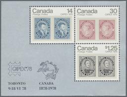 Canada: 1978, Canadian Stamps / CAPEX 78, Michel No. 691/693, Bl.1, 400 Copies Of This Souvenir Shee - Kanada