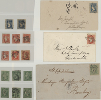 Indien: 1854-55 Lithographs: Collection Of 23 Single Stamps Used And Four Covers, With Two Singles A - 1854 East India Company Administration