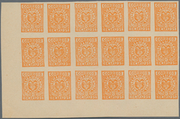 Kolumbien: 1902, Imperforate CARTAGENA Coat Of Arms 5c. Orange On Ungummed Paper In A Lot With Appro - Kolumbien