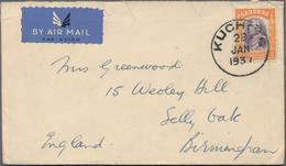 Malaiische Staaten - Sarawak: 1929/48, Covers (5) Mostly Airmail To UK/USA, FDC 1947/53 (5) Inc. 1 C - Grossbritannien (alte Kolonien Und Herrschaften)